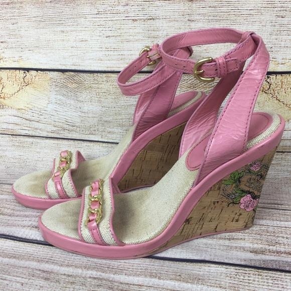 39abc3b03665 Coach Shoes - COACH Cute Cork Wedge Sandals Rose Graphic Heel